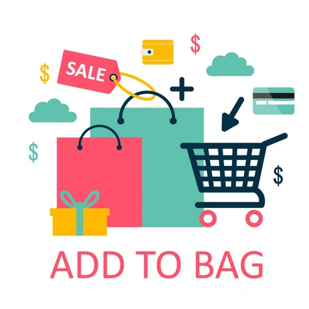 Different elements for online shopping Free Vector