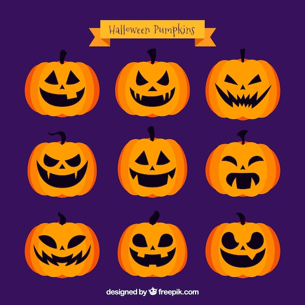 Different emotional expressions of jackolantern Free Vector