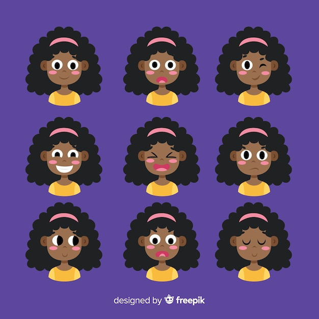Different emotions avatar collection Free Vector