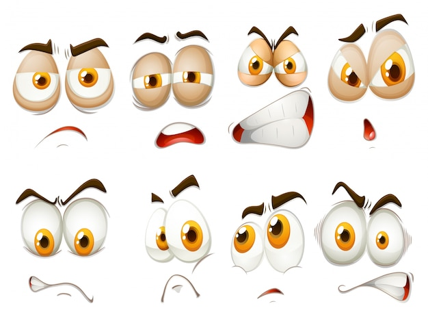 Different emotions of facial expression\ illustration