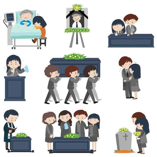 Different events at funeral Premium Vector