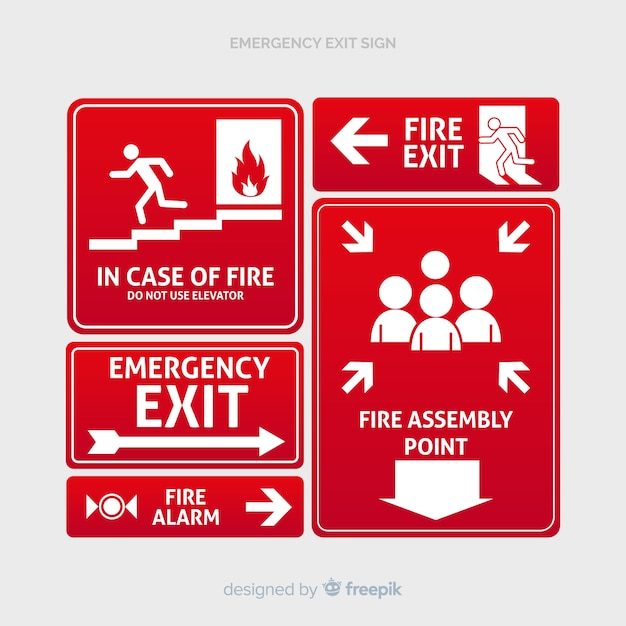 Different exit signs Free Vector