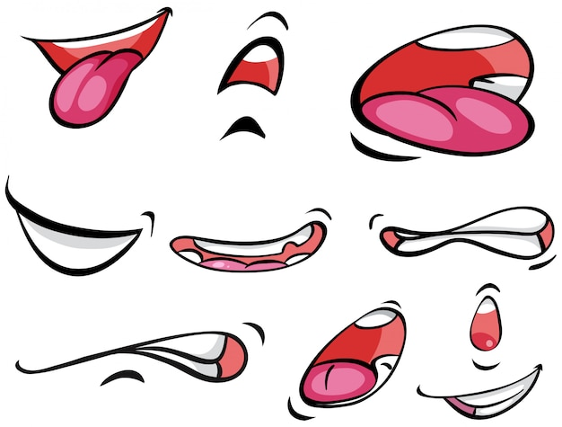 Different expressions on mounth Premium Vector