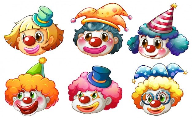 Different faces of a clown Free Vector