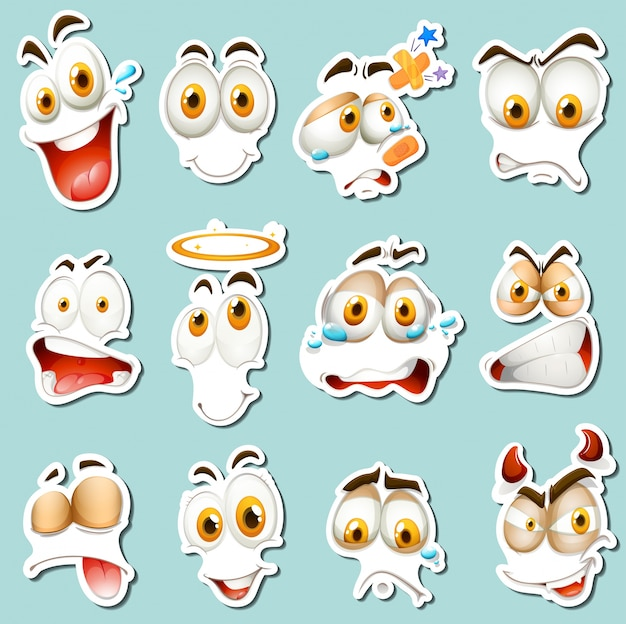 Different facial expression on blue background Free Vector