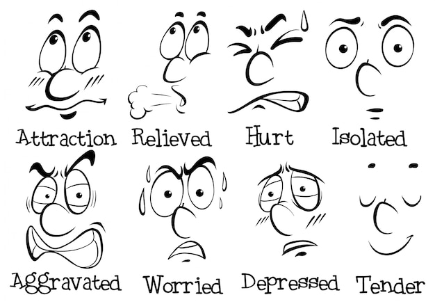 Different facial expressions with words Free Vector