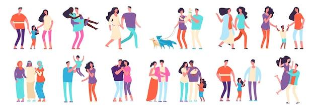 다른 가족. 아랍, 백인, 혼합 커플. 아이들과 애완 동물이있는 이성애 및 동성애 가족. 어머니, 아버지, 친구 벡터 문자 프리미엄 벡터