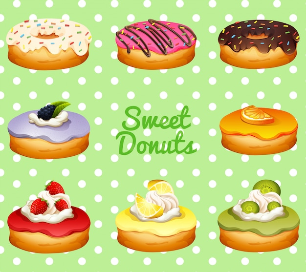 Different flavor of donuts Free Vector