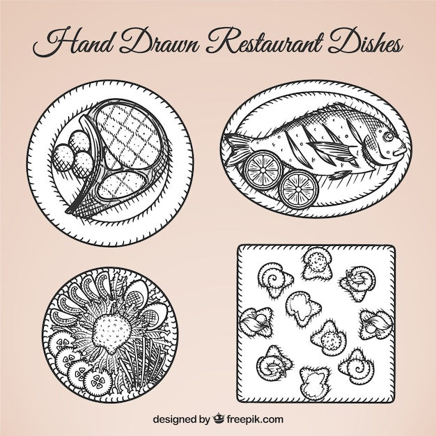 Different food dishes hand drawn
