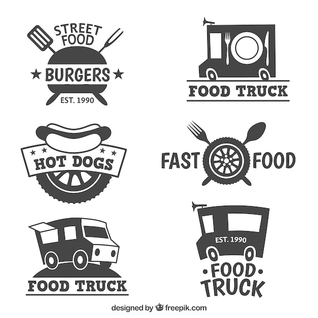 Different Food Truck Logo Collection Premium Vector