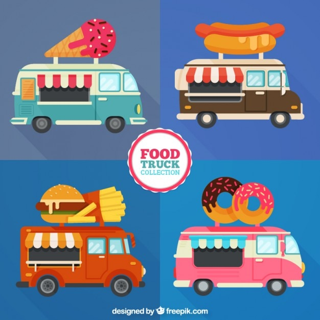 Different Food Trucks In Flat Design Free Vector
