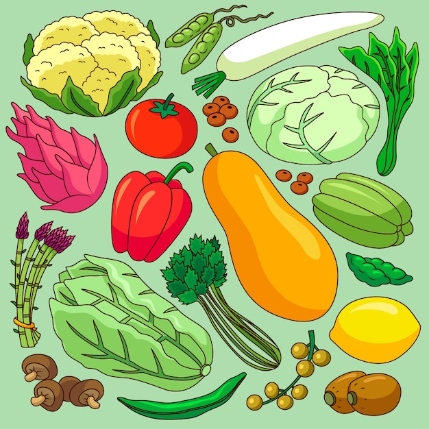 Different fruits and vegetables background Free Vector