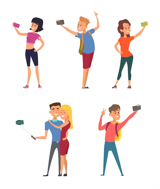 Different funny characters make selfie on their smartphones Premium Vector