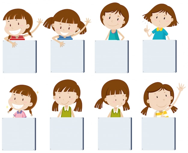 people in elevator clipart. different girl characters holding blank signs people in elevator clipart