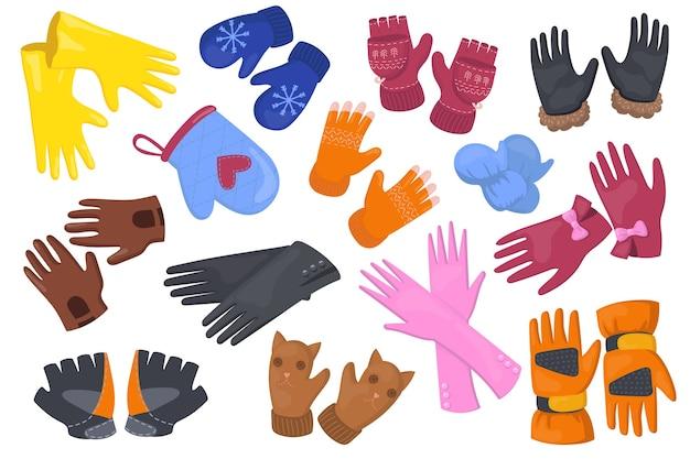 Set di illustrazione piatta guanti diversi. coppia di guanti protettivi del fumetto, guanti per raccolta di illustrazione vettoriale isolato mani. accessori invernali e concetto di design Vettore gratuito