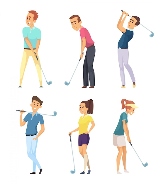 Different golf players isolated Premium Vector