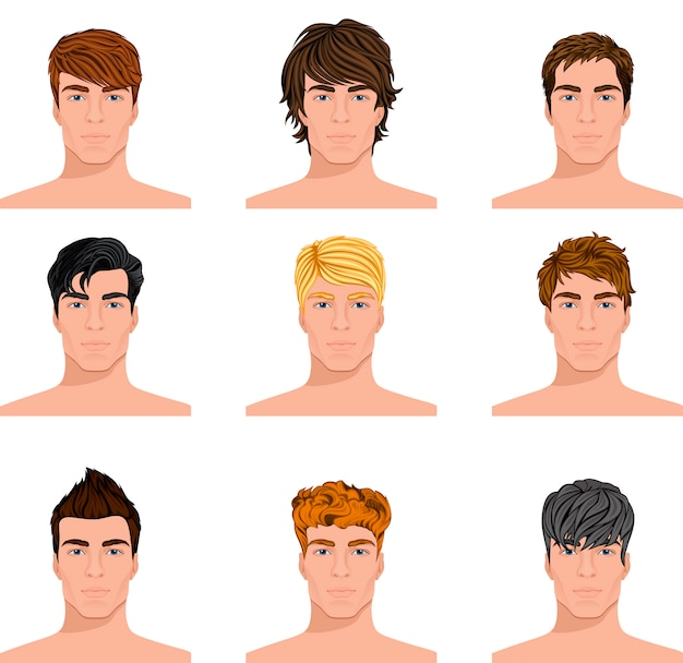 Different hairstyle men faces avatar set Free Vector