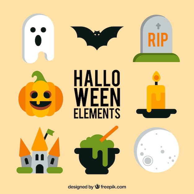 Different halloween items in flat style Free Vector