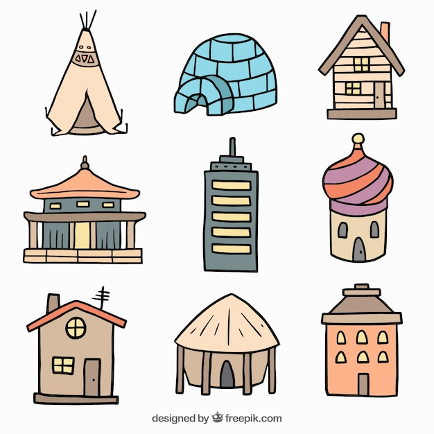 Different hand drawn houses of the world Free Vector