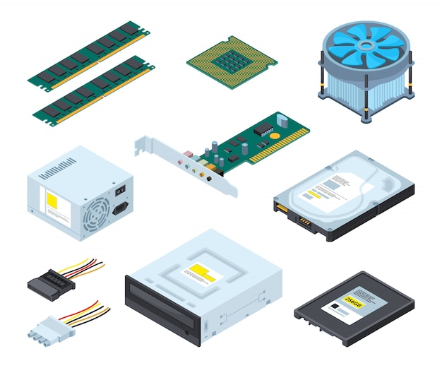 Different hardware parts and components of personal computer. Premium Vector