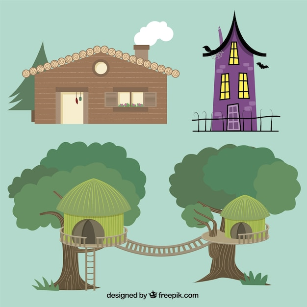 Different house types vector free download for Images of different houses