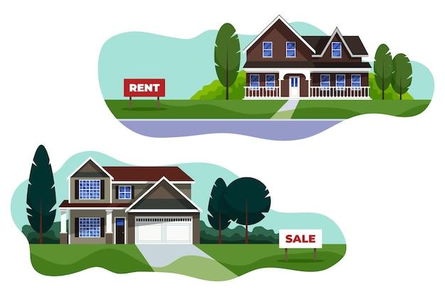 판매 또는 임대 팩에 대한 다른 주택 무료 벡터