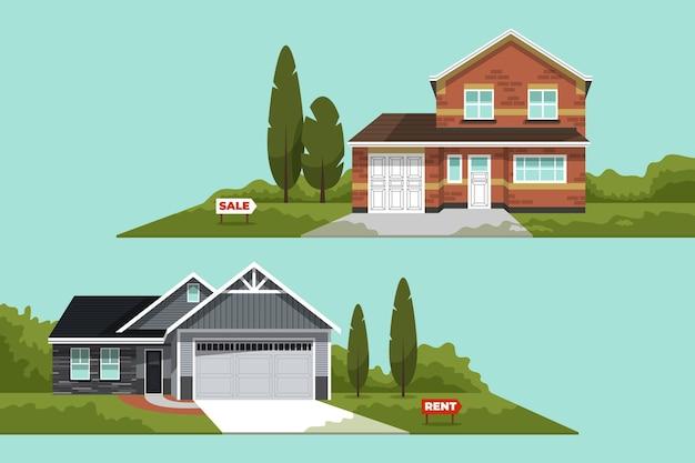 판매 또는 임대 세트를위한 다른 집 프리미엄 벡터