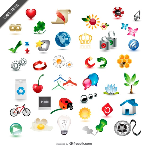 Different icons collection Free Vector