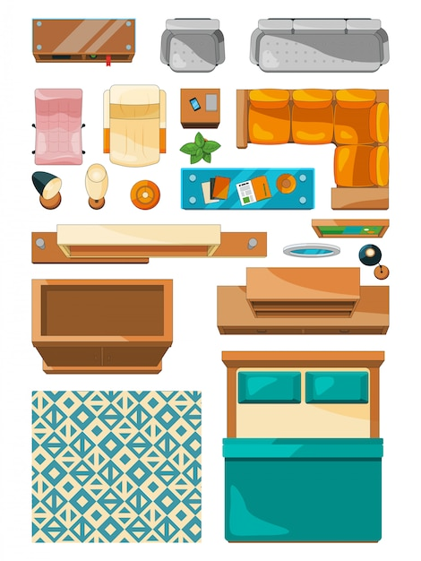 Different icons of furniture top view Premium Vector