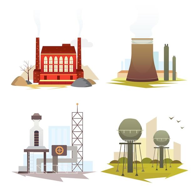 別の産業工場の建物や植物。工業都市建設セットイラスト。 Premiumベクター