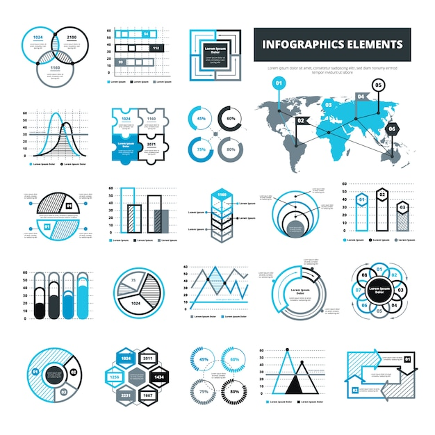 Different infographic elements Free Vector