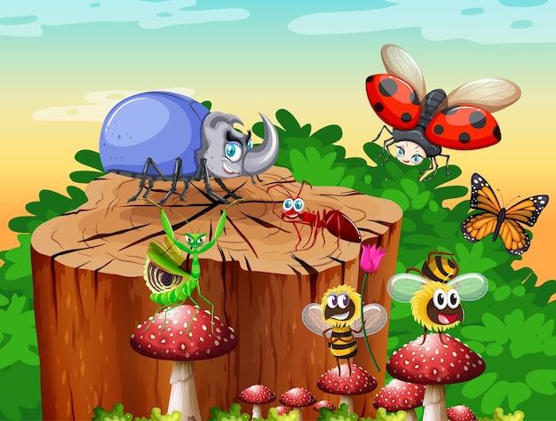 昼間の庭のシーンに住むさまざまな昆虫やカブトムシ 無料ベクター