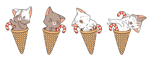 Другой каваий кот внутри мороженого Premium векторы