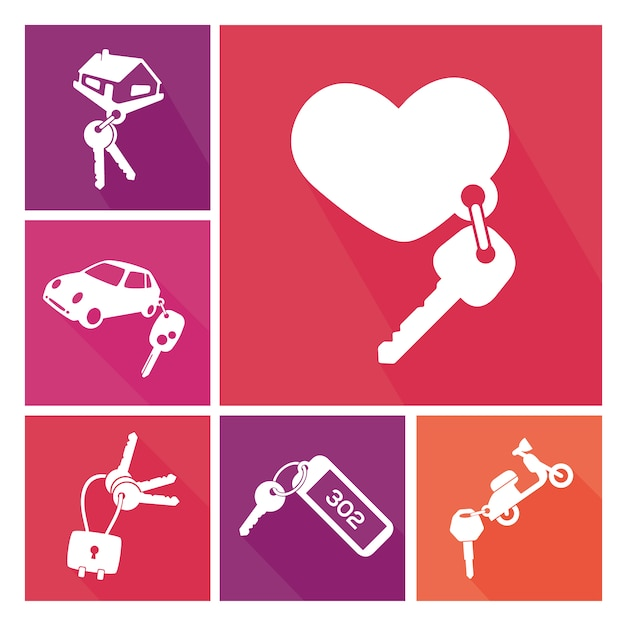 Different key rings collection Free Vector