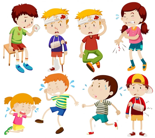 Different kids being sick and getting hurt Free Vector