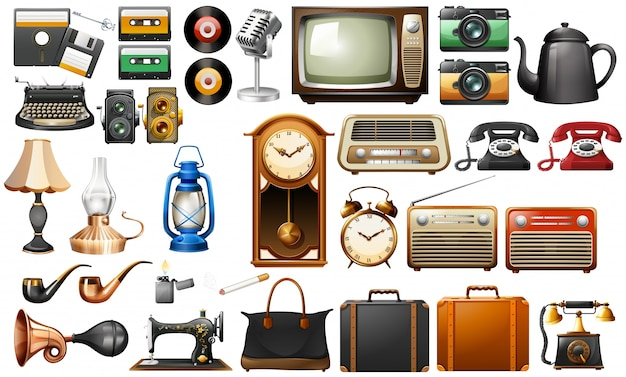 Different kind of antiques illustration Free Vector