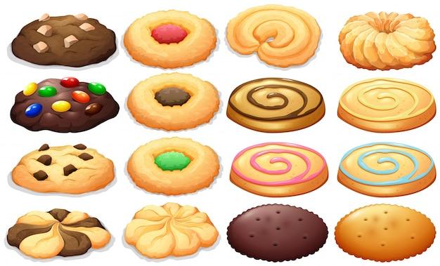 Different kind of cookies illustration Premium Vector