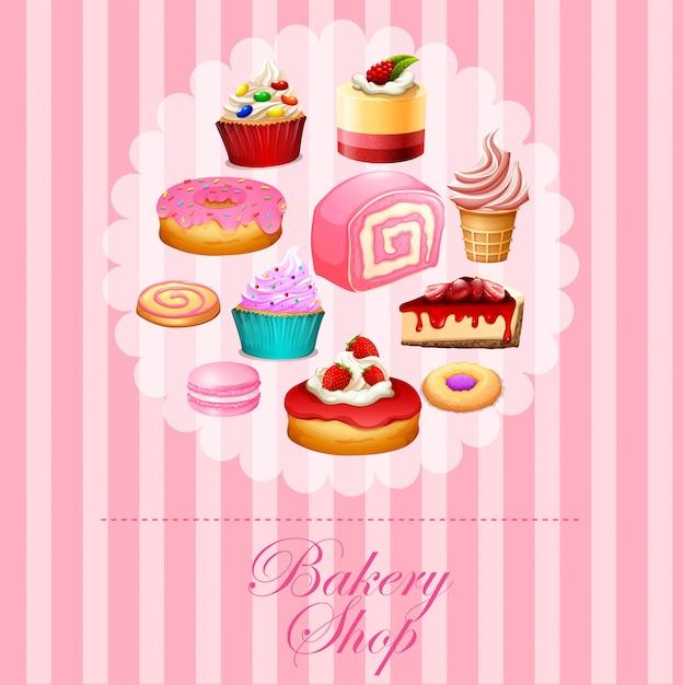 Diversi tipi di dessert in rosa Vettore gratuito