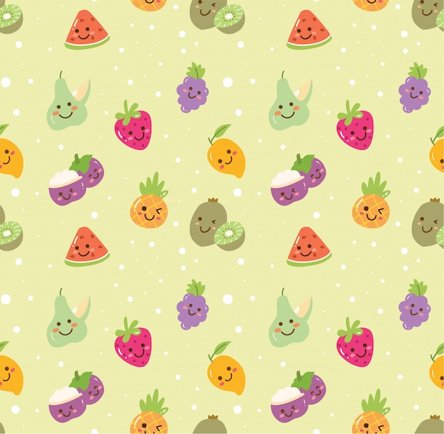 Different kind of fruit seamless background Premium Vector