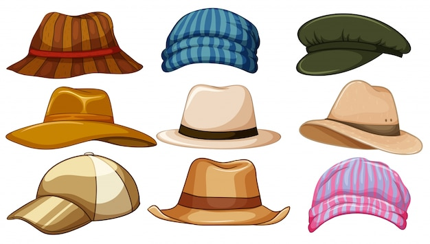 Different kind of hipster hat Premium Vector