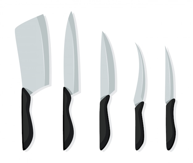 Different kind of knives for chefs, knife icon for butcher shop. set of butcher meat knives for design butcher themes.  realistic kitchen knives isolated Premium Vector