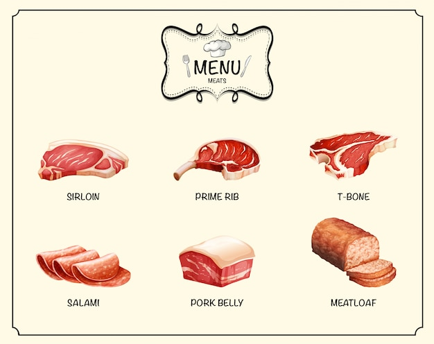 Different kind of meat products Free Vector