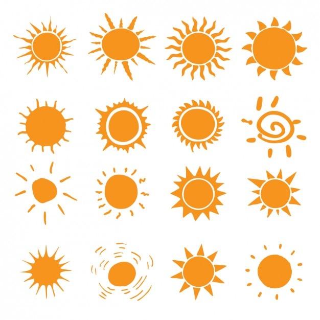Различные виды значков солнца Бесплатные векторы