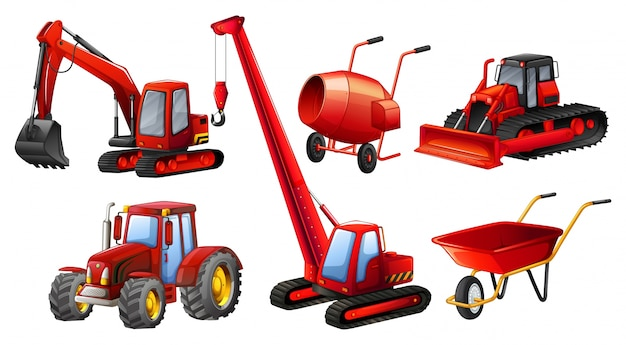 Different kind of tractors and construction equipments Free Vector