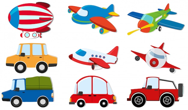 Different kind of transportations Free Vector
