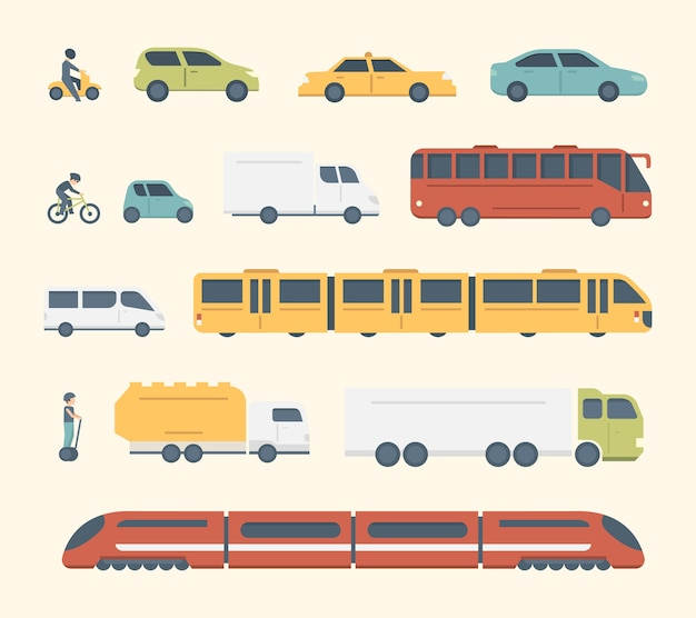 Different kinds of city and intercity public transport. set transportation  illustration. car, bus and truck icons. Premium Vector
