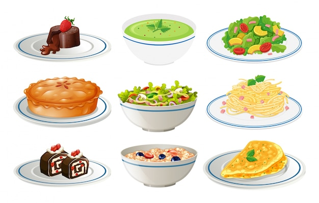 Different kinds of food on white plates illustration Premium Vector