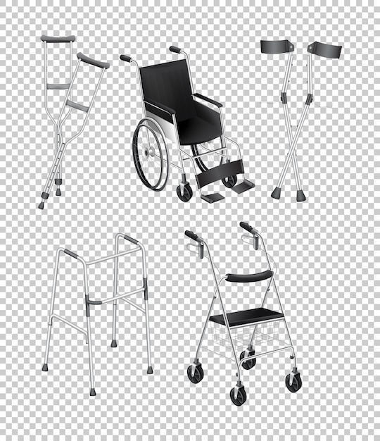 Different kinds of handicap equipments Free Vector