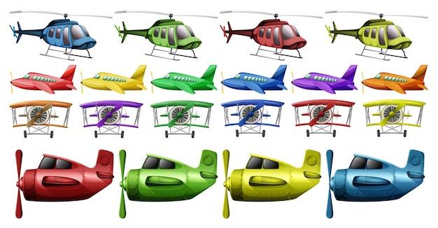 Diversi tipi di illustrazioni di elicotteri e piani Vettore gratuito