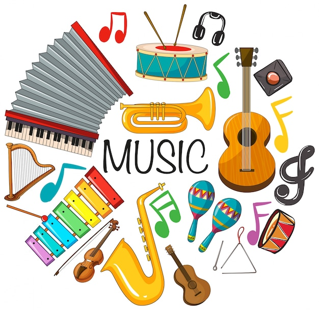 Different kinds of musical instruments Free Vector